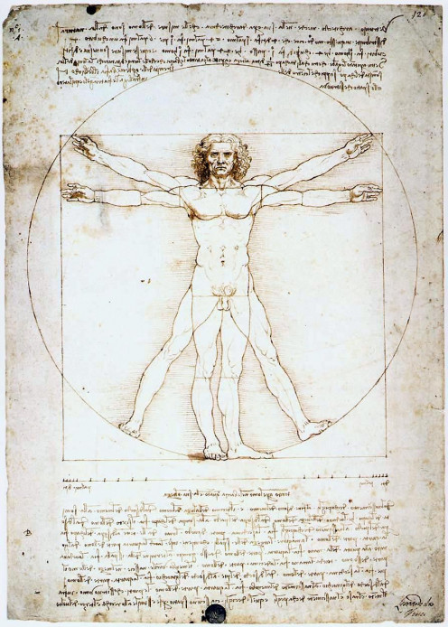 Leonardo da Vinci: The Proportions of the Human Figure (Vitruvian Manek) (1490; Pen, ink and watercolour over metalpoint)