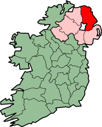 Map location of County Antrim in Northern Ireland