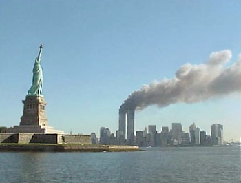 Statue of Liberty and the burning towers on 9/11.