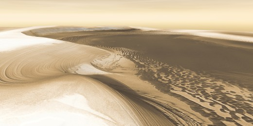 Chasma Boreale, a valley cutting into the northern polar ice cap. For this and all these photos, you will be stunned by the full-sized version on NASA's website (click link below).