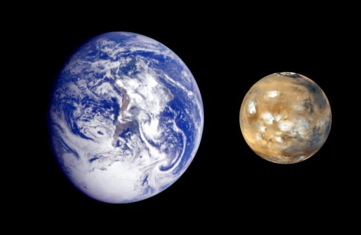 NASA image showing relative sizes of Earth and Mars. (Note clouds on Mars: it does have them, and some are even made of water crystals.)
