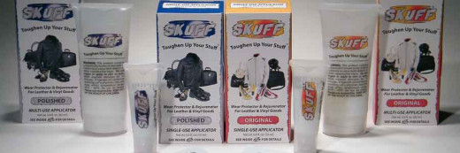 The full line of SKUFF products!  SKUFF comes in both non-glossy, Original, and glossy, Polished, finishes and small, Single Use, and large, Multi Use, sized applicators.  Preparation towelettes come with each applicator for cleaning shoes.