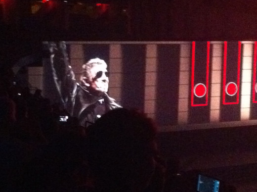 Roger Waters dressed in pseudo-Nazi gear: trench coat, aviators and a crossed hammer arm band!