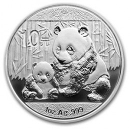 2012 1 oz CHINA PANDA SILVER COIN, 1 Oz, .999, with mint capsule. The chemical symbol for silver is Ag.