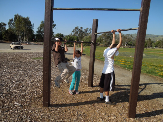 Kids Exercising at Lake Cunningham Park: Pull Up