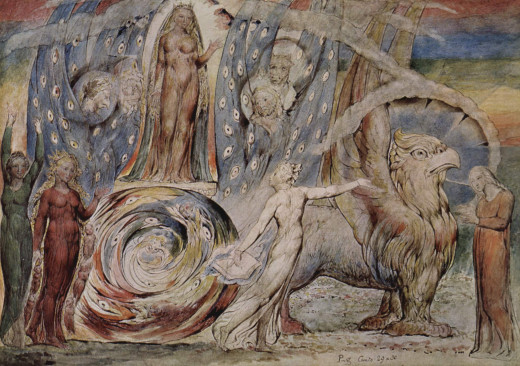 Dante's Purgatorio. This painting by William Blake is called Beatrice Addressing Dante. It depicts a chariot bearing Beatrice, drawn by the Griffin and four ladies who represent specific virtues.
