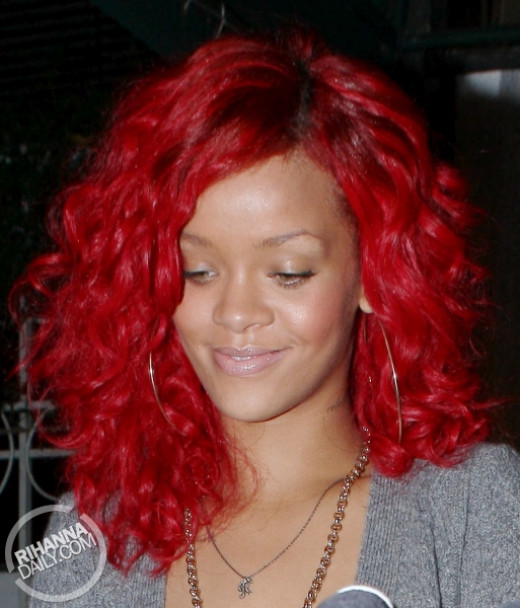 Rihanna with Red Party Wig