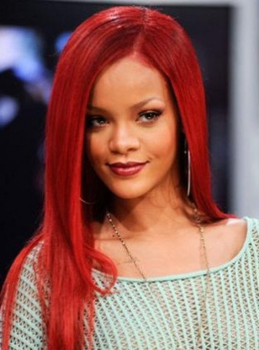 Rihanna with Long, Straight Red Hair