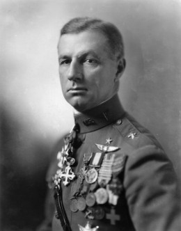 """Colonel William """"Billy"""" Mitchell, an early advocate of air power who is often credited with the creation of the US Air Force and was court-martialled because of his controversial view of air importance against established military policies."""