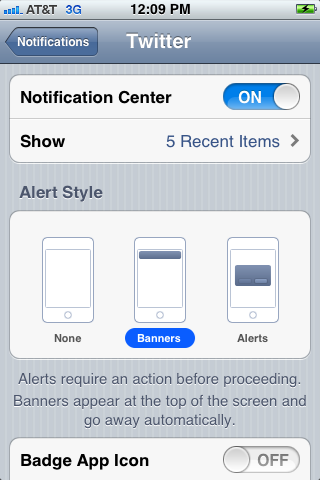Turn on notifications and then adjust the settings to reflect how you want the Twitter notifications to appear.