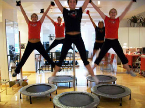 A trampoline excercise class