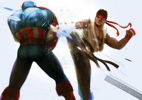 Ryu kicking Captain America.