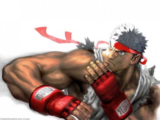 Ryu's defensive stance.