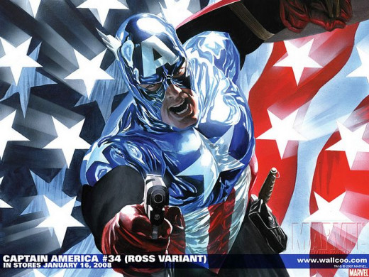 Captain America poses with the Flag of America as background.