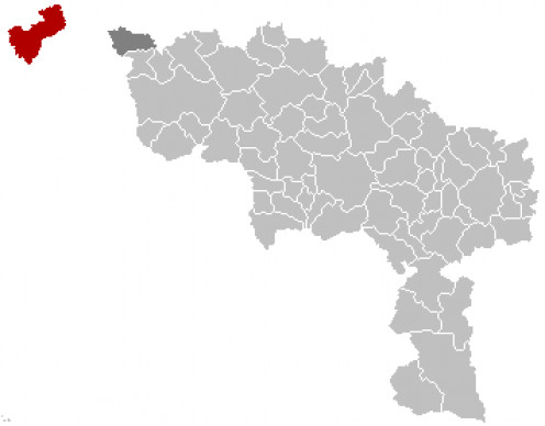 Map location of Comines - Warneton / Komen - Waasten, in Hainaut / Henegouwen province