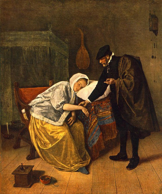 "Jan Steen's ""The Sick Woman"" (""The Doctor and His Patient"")  was painted c1665."
