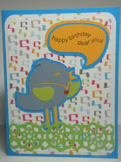 "How to make a ""Bird with a Speech Bubble"" Cricut Homemade Birthday Card"