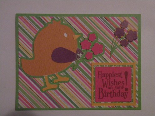 Happy Birthday Flower Bird Card