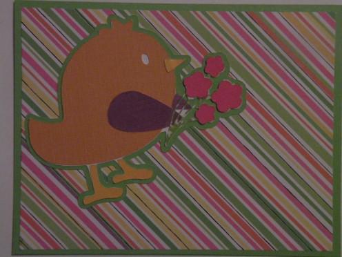 bird adhered to base card