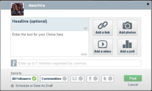 Interface for creating a Chime on Chime.in