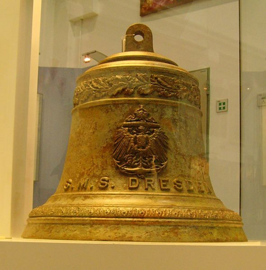 The Dresden's bell, presented by the Chilean authorities to a German Naval Museum, in 2008.