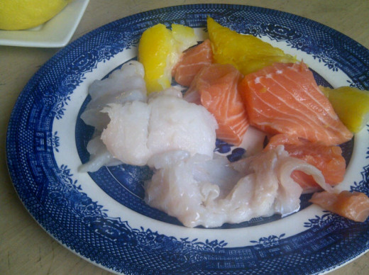 You can use any fresh fish you like; I use a mixture of salmon, smoked haddock and dogfish
