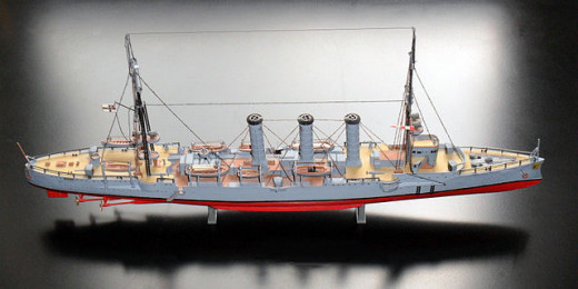 A beautifully crafted model of the SMS Dresden, with her three chimneys.