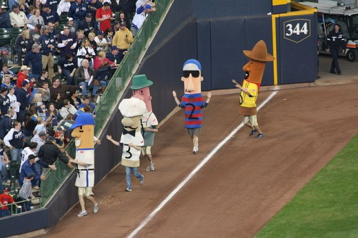 Sausages Racing at Miller Park in Milwaukee