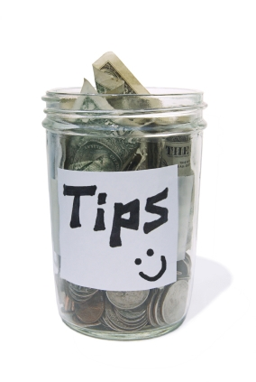 "My mom has a jar labeled ""TIPS"" from when she worked as a waitress at a local restaurant. I have my wallet."