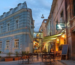 A quaint, sidewalk cafe in Old Tbilisi, Georgia.