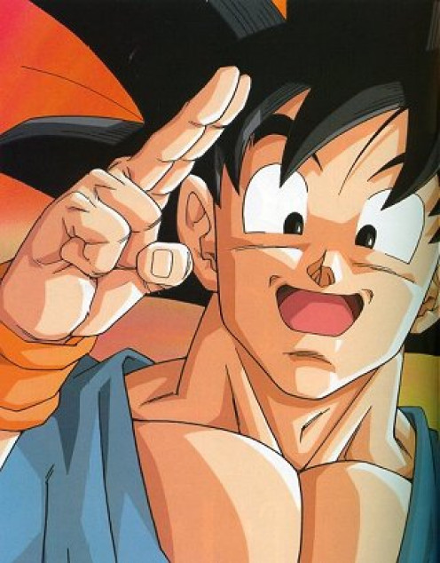 Son Goku saying goodbye.