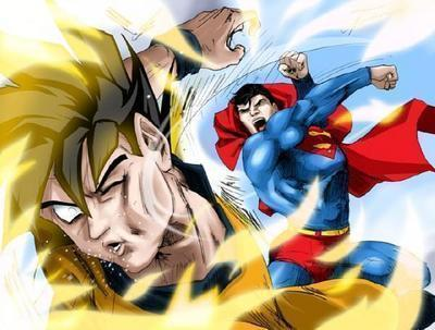 Superman landing a punch against Son Goku.