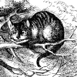 "John Tenniel's tabby version of the Cheshire cat drawn for ""Alice in Wonderland"""