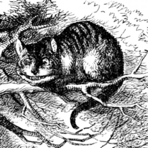 """John Tenniel's tabby version of the Cheshire cat drawn for """"Alice in Wonderland"""""""