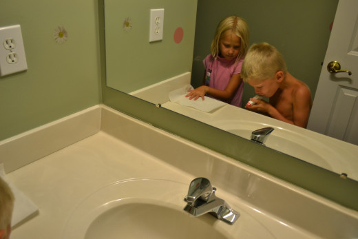 If the kids are bored, they clean the bathroom