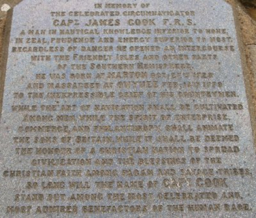 Commemmorative plaque on the base of Captain Cook's Monument - face it, you can't get away from him around here.