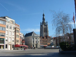 he central square of Kortrijk, Belgium with St Martin's church in the background