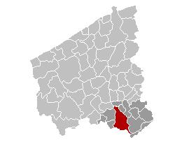 Map location of Kortrijk, West Flanders Belgium