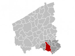 Map location of Kortrijk, West Flanders Belgium