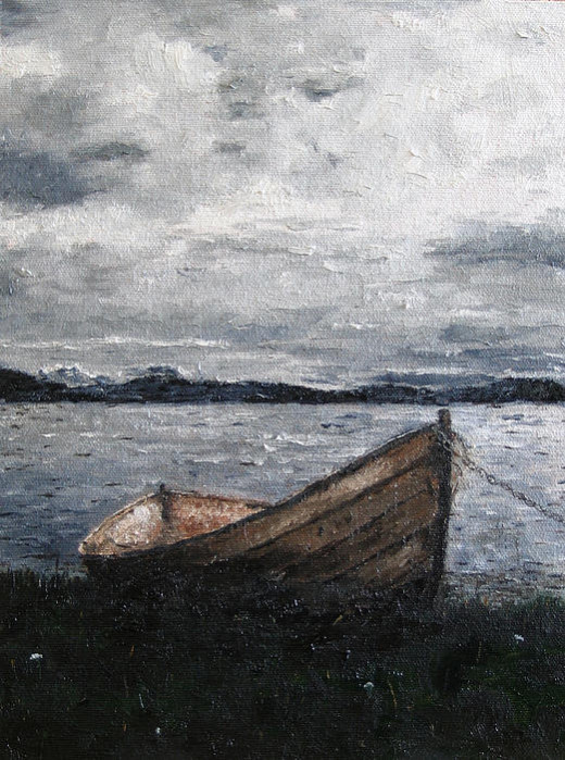 Lonely Boat Painting by Tom Schek