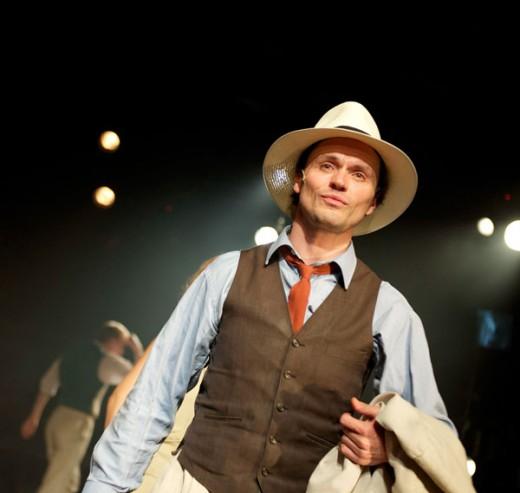 Norman Bowman as temperamental film director Mack Sennett in 'Mack & Mabel', showing until 25th August 2012, at Southwark Playhouse Vault.