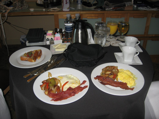 One of the room service tables with my kids breakfast.