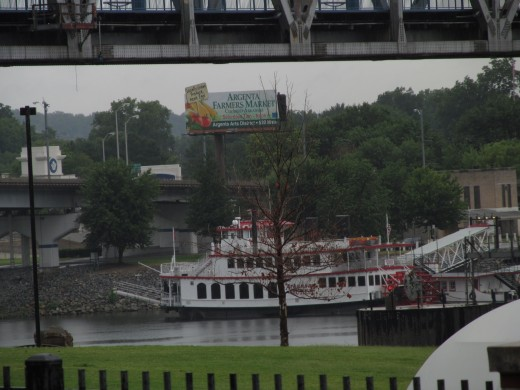 The Arkansas River Boat Queen visible from the River Market Farmer's Market