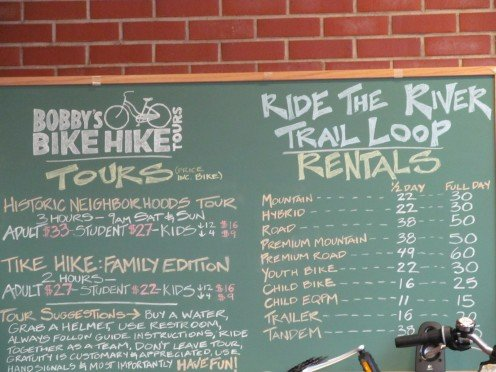 Bobby's Bike Hike, rent bicycles, ride the River Trails.