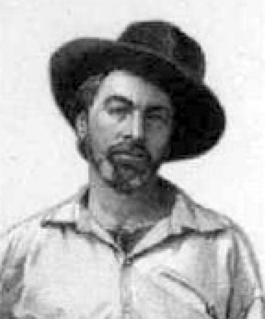 Whitman, usually portrayed in older portraits as an grey-haired elder, here, is shown much younger.