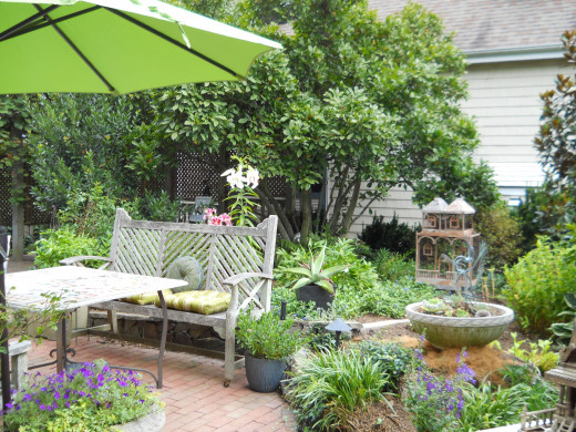 Libby & Bob's Waterview Gardens are multi-terraced and overlook the Broadkill River. This is one of the garden rooms which are designed to be intimate environs.