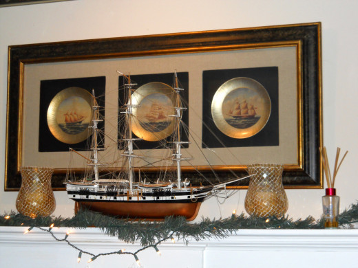 Interior photo of the Mansion Farm shows a display honoring Milton's place in ship building history.