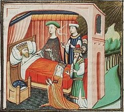 Abishag, Bathsheba, Solomon and Nathan tend to aging David, c. 1435