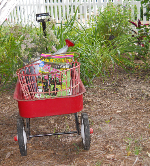A vintage Radio Flyer Wagon adds charm and whimsy to the wooded garden area at Lynn & Mike Wajda's Bangor Lane home.