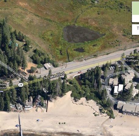 General area showing main road and beach
